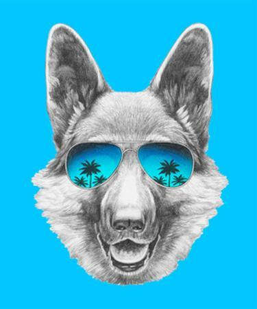 Portrait of German Shepherd with Mirror Sunglasses. Hand Drawn Illustration.