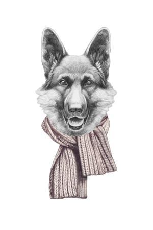 Portrait of German Shepherd with Scarf. Hand Drawn Illustration.