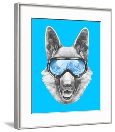 Portrait of German Shepherd with Ski Goggles. Hand Drawn Illustration.