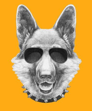 Portrait of German Shepherd with Sunglasses and Collar. Hand Drawn Illustration.