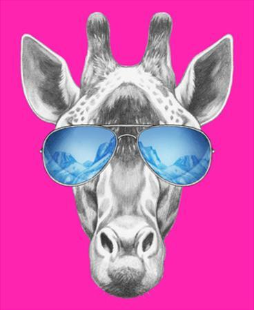 Portrait of Giraffe with Mirror Sunglasses. Hand Drawn Illustration. by victoria_novak