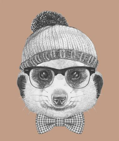 Portrait of Hipster Animal. Mongoose with Glasses, Hat and Bow Tie. Hand Drawn Illustration. by victoria_novak