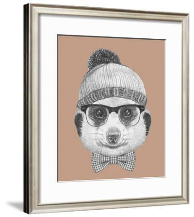 Portrait of Hipster Animal. Mongoose with Glasses, Hat and Bow Tie. Hand Drawn Illustration.