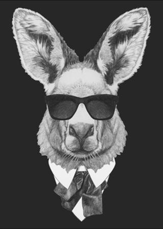 Portrait of Kangaroo in Suit. Hand Drawn Illustration. by victoria_novak