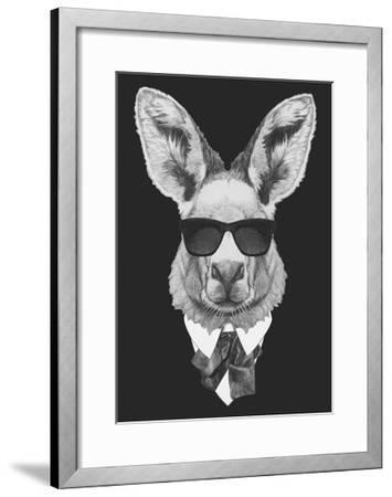 Portrait of Kangaroo in Suit. Hand Drawn Illustration.