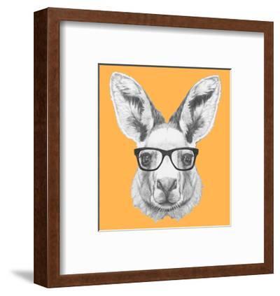 Portrait of Kangaroo with Glasses. Hand Drawn Illustration.