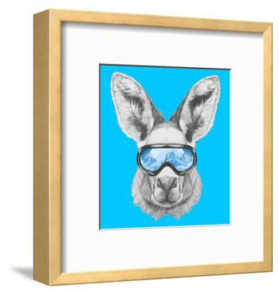 Portrait of Kangaroo with Ski Goggles. Hand Drawn Illustration.