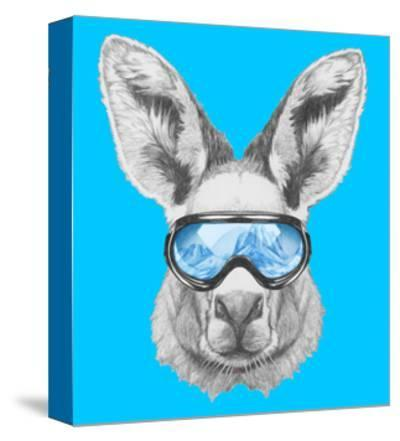 Portrait of Kangaroo with Ski Goggles. Hand Drawn Illustration. by victoria_novak