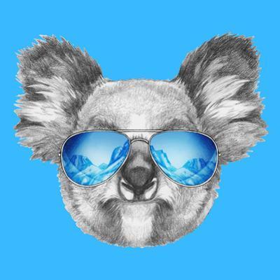 Portrait of Koala with Mirror Sunglasses. Hand Drawn Illustration.