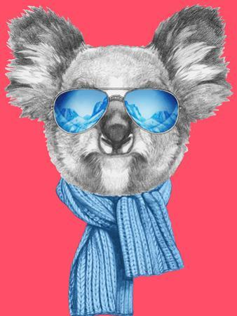 Portrait of Koala with Scarf and Sunglasses. Hand Drawn Illustration. by victoria_novak