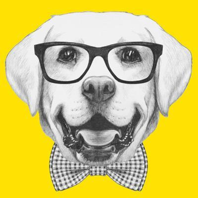 Portrait of Labrador with Glasses and Bow Tie. Hand Drawn Illustration. by victoria_novak