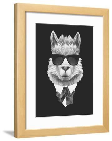 Portrait of Lama in Suit. Hand Drawn Illustration.