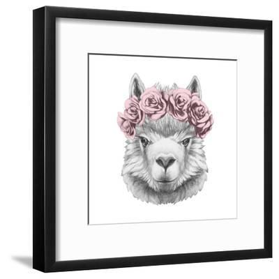 Portrait of Lama with Floral Head Wreath. Hand Drawn Illustration.