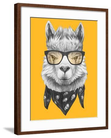 Portrait of Lama with Glasses and Scarf. Hand Drawn Illustration.