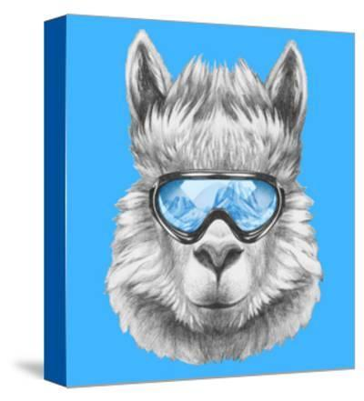 Portrait of Lama with Ski Goggles. Hand Drawn Illustration.