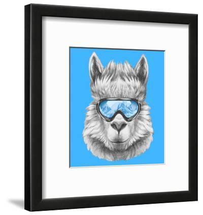 Portrait of Lama with Ski Goggles. Hand Drawn Illustration.