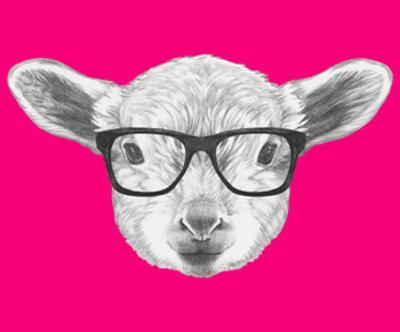Portrait of Lamb with Glasses. Hand Drawn Illustration. by victoria_novak