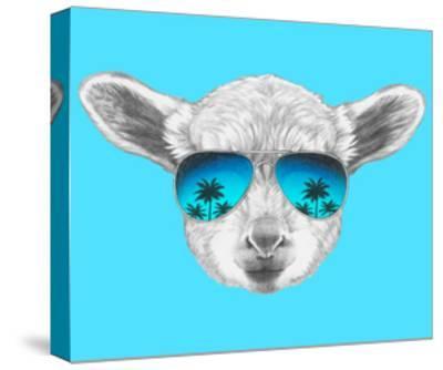 Portrait of Lamb with Mirror Sunglasses. Hand Drawn Illustration.