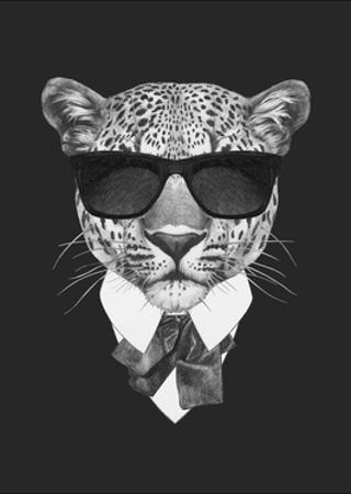 Portrait of Leopard in Suit. Hand Drawn Illustration. by victoria_novak