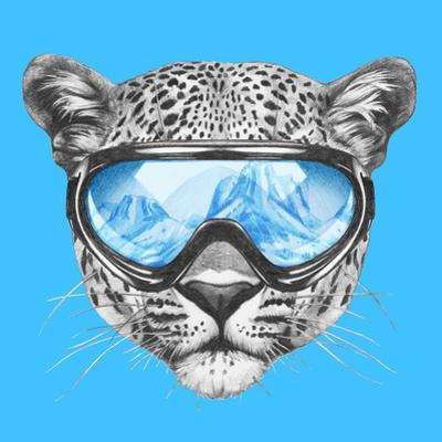 Portrait of Leopard with Ski Goggles. Hand Drawn Illustration. by victoria_novak