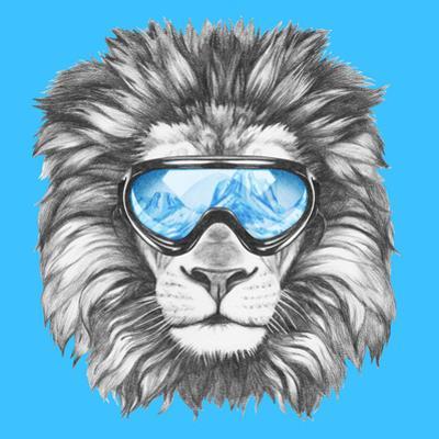 Portrait of Lion with Ski Goggles. Hand Drawn Illustration. by victoria_novak