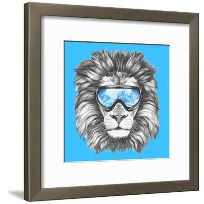 Portrait of Lion with Ski Goggles. Hand Drawn Illustration.