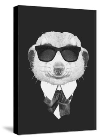 Portrait of Mongoose in Suit. Hand Drawn Illustration.