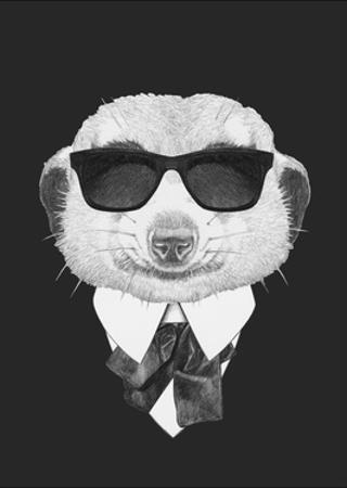 Portrait of Mongoose in Suit. Hand Drawn Illustration. by victoria_novak