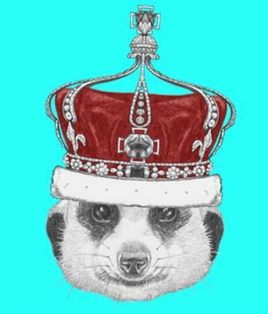 Portrait of Mongoose with Crown. Hand Drawn Illustration. by victoria_novak