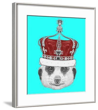 Portrait of Mongoose with Crown. Hand Drawn Illustration.