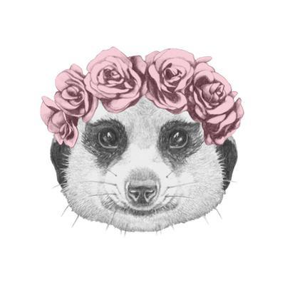 Portrait of Mongoose with Floral Head Wreath . Hand Drawn Illustration.