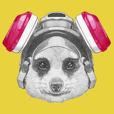 Portrait of Mongoose with Gas Mask. Hand Drawn Illustration.