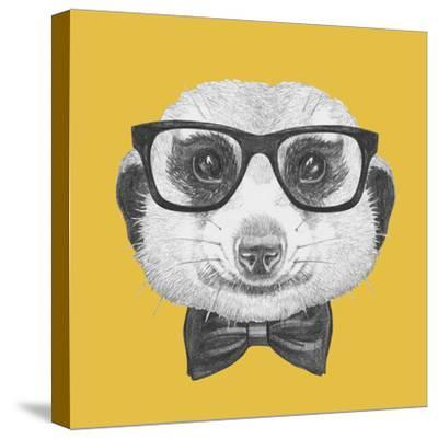 Portrait of Mongoose with Glasses and Bow Tie. Hand Drawn Illustration.
