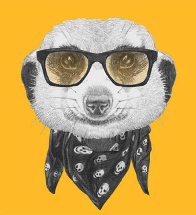Portrait of Mongoose with Glasses and Scarf. Hand Drawn Illustration.