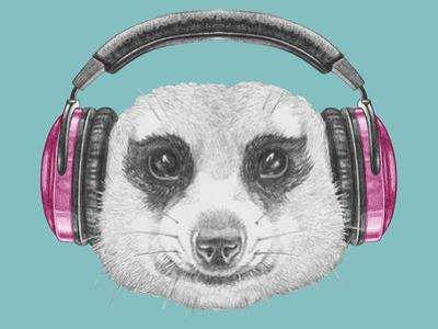 Portrait of Mongoose with Headphones. Hand Drawn Illustration. by victoria_novak