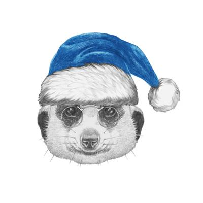 Portrait of Mongoose with Santa Hat. Hand Drawn Illustration. by victoria_novak
