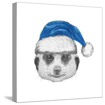 Portrait of Mongoose with Santa Hat. Hand Drawn Illustration.