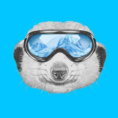 Portrait of Mongoose with Ski Goggles. Hand Drawn Illustration. by victoria_novak