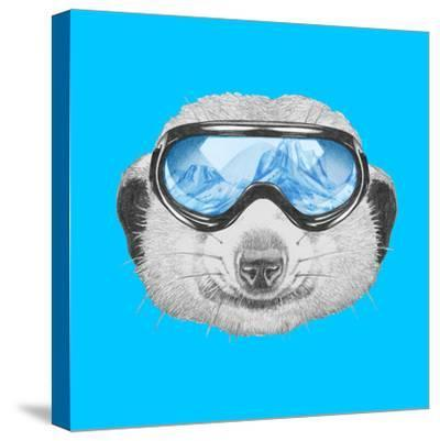 Portrait of Mongoose with Ski Goggles. Hand Drawn Illustration.