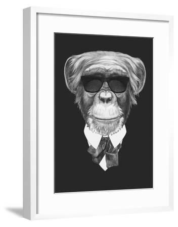 Portrait of Monkey in Suit. Hand Drawn Illustration.