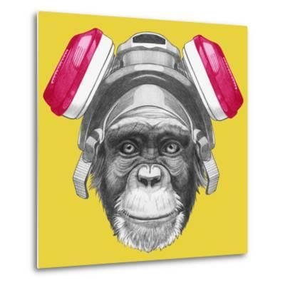 Portrait of Monkey with Gas Mask. Hand Drawn Illustration.