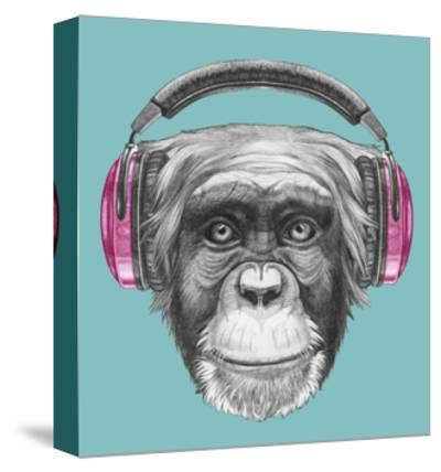 Portrait of Monkey with Headphones. Hand Drawn Illustration.