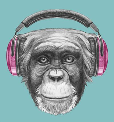 Portrait of Monkey with Headphones. Hand Drawn Illustration. by victoria_novak