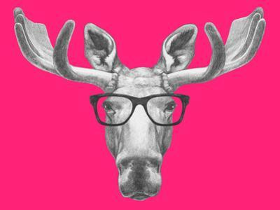 Portrait of Moose with Glasses. Hand Drawn Illustration. by victoria_novak