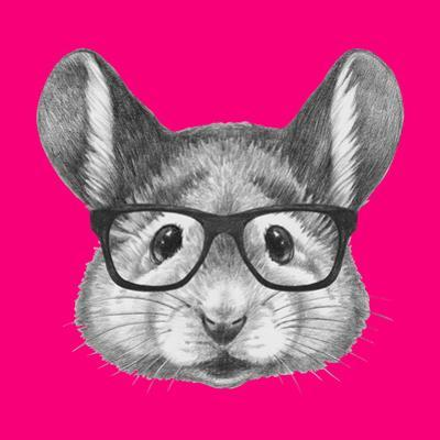 Portrait of Mouse with Glasses. Hand Drawn Illustration. by victoria_novak