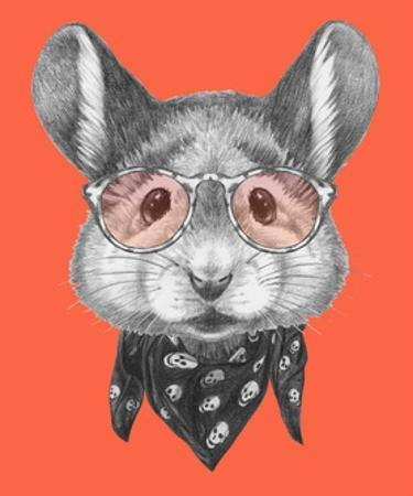 Portrait of Mouse with Scarf and Glasses. Hand Drawn Illustration.