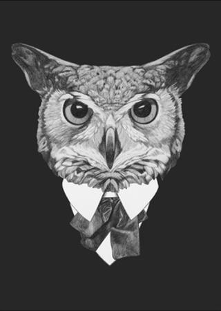 Portrait of Owl in Suit. Hand Drawn Illustration. by victoria_novak
