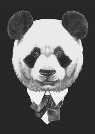 Portrait of Panda in Suit. Hand Drawn Illustration. by victoria_novak