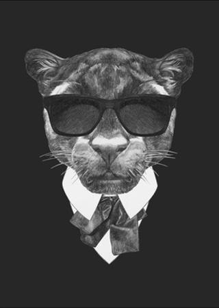 Portrait of Panther in Suit. Hand Drawn Illustration.