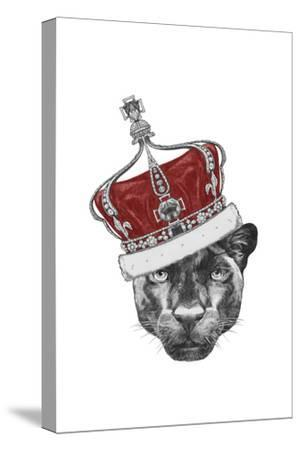Portrait of Panther with Crown. Hand Drawn Illustration.